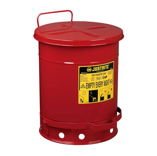 Tanques para desechos aceitosos Justrite 9300 - Apertura a pedal - 38 litros - Color rojo