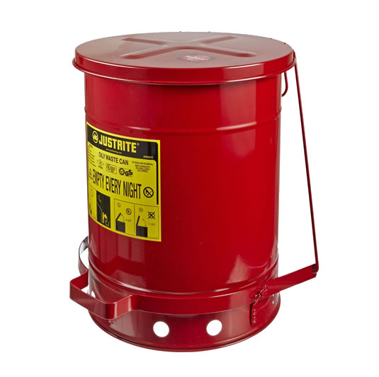 Tanques 9308 38 lt desechos aceitosos Justrite SoundGuard™ - Apertura a pedal - 38 litros - Color rojo