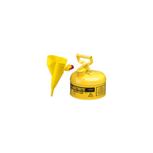 Bidones para inflamables Justrite 10011 metalicos Tipo I - Cap. 0,5lts - Color amarillo para Gas Oil
