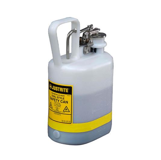 Bidón 12162 4 lt Tipo I plast para ácidos y corrosivos Justrite ovalados plásticos con accesorios de acero inoxidable - Color blanco - 4 lts.