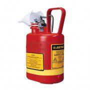 Bidones plásticos para ácidos y corrosivos justrite 14160 ovalados Tipo I con accesorios de acero inoxidable - Color rojo - 4 lts.