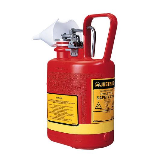 Bidón 14160 4 lt Tipo I plast plásticos para ácidos y corrosivos justrite ovalados con accesorios de acero inoxidable - Color rojo - 4 lts.