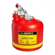Bidones plásticos para ácidos y corrosivos Justrite 14251 ovalados Tipo I con accesorios de acero galvanizado - Color rojo - 9 lts.