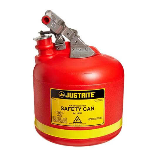 Bidón 14261 9 lt Tipo I plast plásticos para ácidos y corrosivos Justrite ovalados con accesorios de acero inoxidable - Color rojo - 9 lts.