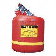 Bidón 14561 19 lt Tipo I plast plásticos para ácidos y corrosivos Justrite ovalados con accesorios de acero inoxidable - Color rojo - 19 lts.