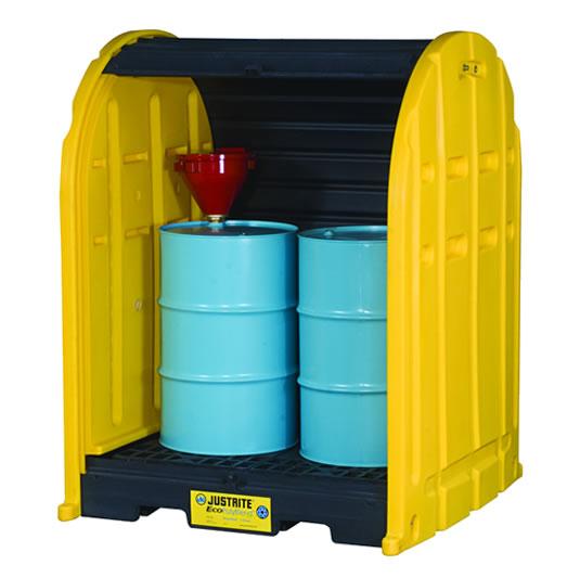 Cobertizos antiderrames 2 tambores Justrite 28675 EcoPolyBlend™ DrumSheds™