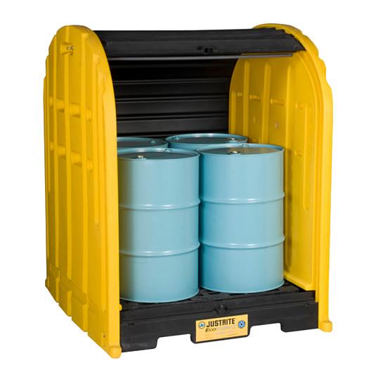 Cobertizos antiderrames 4 tambores Justrite 28676 EcoPolyBlend™ DrumSheds™