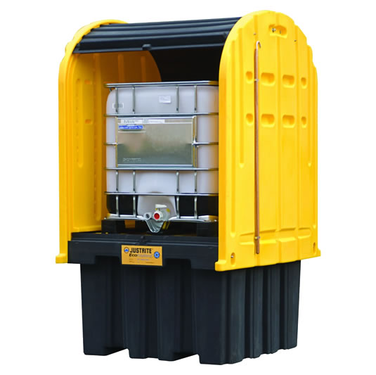 Cobertizos antiderrames para uso exterior para contenedor IBC Justrite 28677 EcoPolyBlend™ DrumSheds™