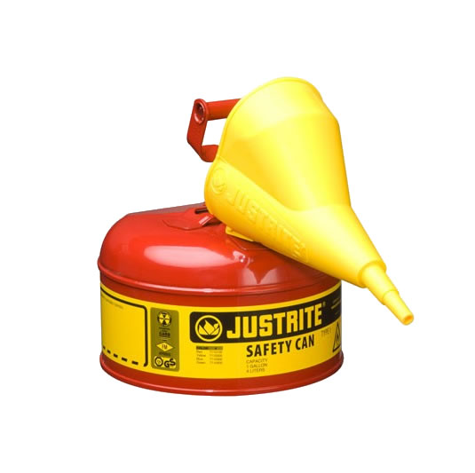 Bidón 7110110 4 lt Tipo I para inflamables Justrite metalicos - Con embudo - Cap. 4 lts