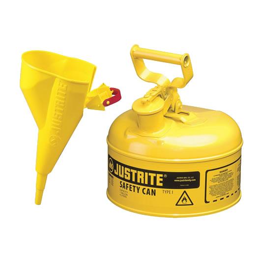 Bidón 7110210 4 lt Tipo I para inflamables Justrite metalicos - Con embudo - Cap. 4 lts - Color amarillo para Gas oil