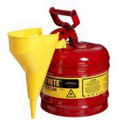 Bidón 7120110 7,5 lt Tipo I para inflamables Justrite (ex 10502) metálicos - Con embudo - Cap. 7,5 lts.