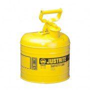 Bidón 7120200 7,5 lt Tipo I para inflamables Justrite (ex 10511) metálicos - Cap. 7,5 lts - Color amarillo para Gas oil
