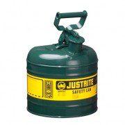 Bidón 7120400 7,5 lt Tipo I para inflamables Justrite metálicos - Cap. 7,5 lts - Color verde para Aceite