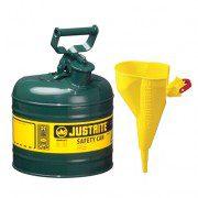 Bidón 7120410 7,5 lt Tipo I para inflamables Justrite metálicos - Con embudo - Cap. 7,5 lts - Color verde para Aceite