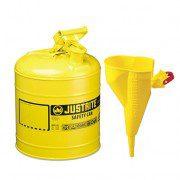 Bidón 7125210 9,5 lt Tipo I para inflamables Justrite metálicos - Con embudo - Cap. 9,5 lts - Color amarillo para Gas oil