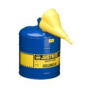 Bidón 7125310 9,5 lt Tipo I para inflamables Justrite metálicos - Con embudo - Cap. 9,5 lts - Color azul para Querosén