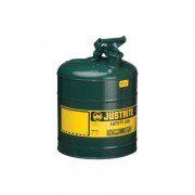Bidones para inflamables Justrite 7125400 (ex 10712) metálicos Tipo I - Cap. 9,5 lts - Color verde para Aceite