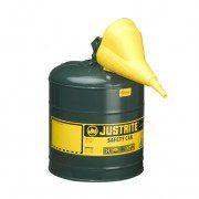 Bidón 7125410 9,5 lt Tipo I para inflamables Justrite metálicos - Con embudo - Cap. 9,5 lts - Color verde para Aceite