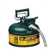 Bidón 7210420 4 lt Tipo II para inflamables Justrite (ex 10368E) metálicos de dos bocas Accuflow™ - 4 lts - Color verde para Aceite