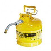 Bidones para inflamables Justrite 7220220 (ex 10468Y/10568Y/10526) metálicos de dos bocas Tipo II Accuflow™ - 7,5 lts - Color amarillo para Gas oil