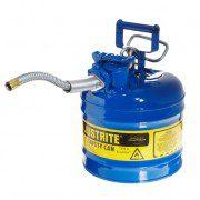 Bidón 7220320 7,5 lt Tipo II para inflamables Justrite (ex 10468B/10568B/10527B) metálicos de dos bocas AccuFlow™ - 7,5 lts - Color Azul para Querosén