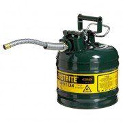 Bidón 7220420 7,5 lt Tipo II para inflamables Justrite (ex 10468E/10568E/10527E) metálicos de dos bocas AccuFlow™ - 7,5 lts - Color verde para Aceite