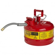 Bidones para inflamables Justrite 7225120 (ex 10728) metálicos de dos bocas y manguera 16mm Tipo II AccuFlow™ - 9,5 litros - Color rojo