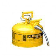 Bidón 7225220 9,5 lt Tipo II para inflamables Justrite (Ex 10668Y/10768Y/10729) metálicos de dos bocas y manguera 16mm AccuFlow™ - 9,5 litros - Color amarillo para Gas oil