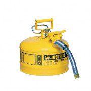 Bidón 7225230 9,5 lt Tipo II para inflamables Justrite (Ex 10667Y/10767Y/10732) metálicos de dos bocas y manguera 25mm AccuFlow™ - 9,5 litros - Color amarillo para Gas oil