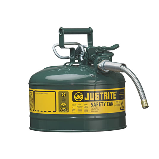 Bidón 7225420 9,5 lt Tipo II para inflamables Justrite (Ex 10668E/10768E/10728E) metálicos de dos bocas y manguera 16mm AccuFlow™ - 9,5 litros - Color verde para Aceite