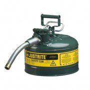 Bidón 7225430 9,5 lt Tipo II para inflamables Justrite (Ex 10667E/10767E/10726) metálicos de dos bocas y manguera 25mm AccuFlow™ - 9,5 litros - Color verde para Aceite