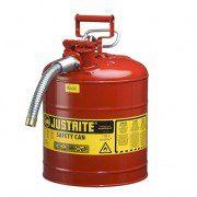 Bidón 7250130 19 lt Tipo II para inflamables Justrite (Ex 10821) de dos bocas y manguera AccuFlow™ - 19 lts - Color rojo