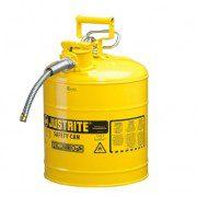 Bidón 7250220 19 lt Tipo II para inflamables Justrite (Ex 10868Y/10829) de dos bocas y manguera AccuFlow™ - 19 lts - Color amarillo para Gas Oil
