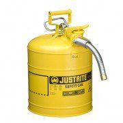 Bidón 7250230 19 lt Tipo II para inflamables Justrite (Ex 10867Y/10832) de dos bocas y manguera AccuFlow™ - 19 lts - Color amarillo para Gas Oil