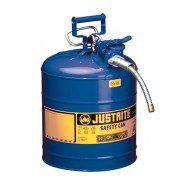 Bidón 7250330 19 lt Tipo II para inflamables Justrite (Ex 10867B/10820) de dos bocas y manguera AccuFlow™ - 19 lts - Color azul para Querosén