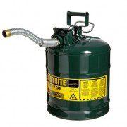 Bidón 7250430 19 lt Tipo II para inflamables Justrite (Ex 10867E/10826) de dos bocas y manguera AccuFlow™ - 19 lts - Color verde para Aceite