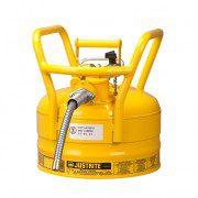 Bidón 7325220 9 lt Tipo II DOT para inflamables Justrite con manguera - 9 litros - Color amarillo