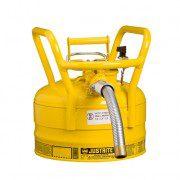 Bidón 7325230 9 lt Tipo II DOT para inflamables Justrite con manguera - 9 litros - Color amarillo