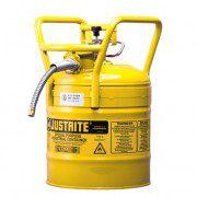 Bidón 735021019 lt Tipo II DOT para inflamables Justrite - con manguera - 19 litros - Color amarillo