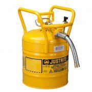Bidón 7350230 19 lt Tipo II DOT para inflamables Justrite con manguera - 19 litros - Color amarillo