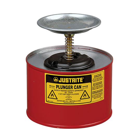 Humectadores 10208 2 lt de seguridad con pistón Justrite - 2 litro - Color rojo