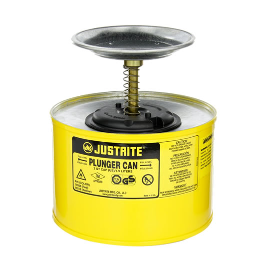 Humectadores 10218 2 lt de seguridad con pistón Justrite - Color amarillo
