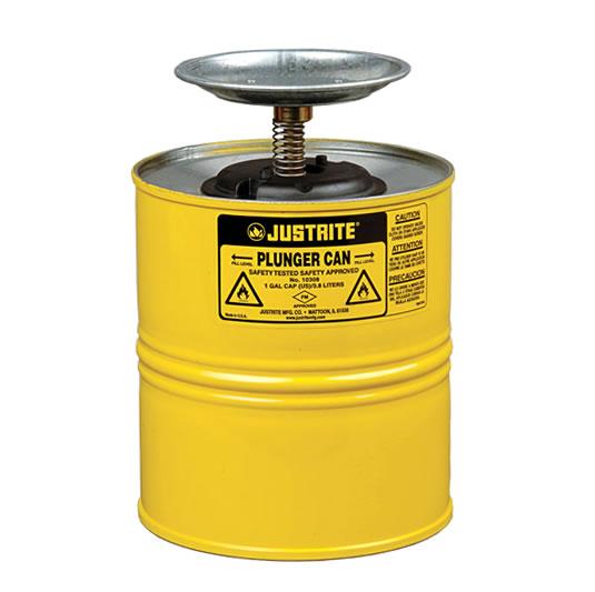 Humectadores 10318 4 lt de seguridad con pistón Justrite - Color amarillo
