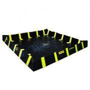 Piletas 28539 1798 lts derrame para contención de derrames Justrite QuickBerm® con soportes interiores de pared - 2,44 x 2,44 x 0,30 mts - 1.798 litros
