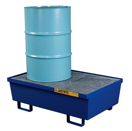Pallets antiderrames Justrite 28610 de acero para 2 tambores - Color azul