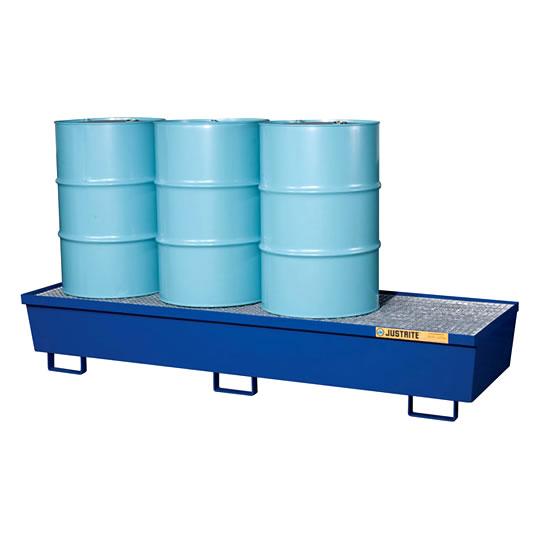 Pallet antiderrame 4t para 4 tambores Justrite 28612 de acero Color azul