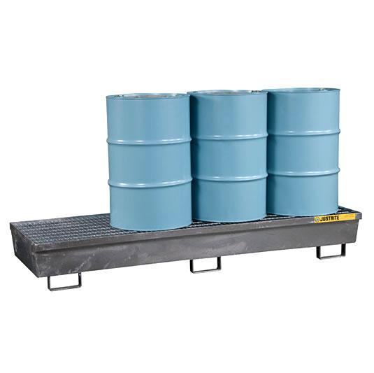 Pallets antiderrames Justrite 28613 de acero para 4 tambores - Galvanizado