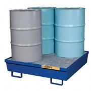 Pallet antiderrame 4t para 4 tambores Justrite 28614 de acero azul