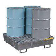 Pallet antiderrame 4t para 4 tambores Justrite 28615 de acero Galvanizado