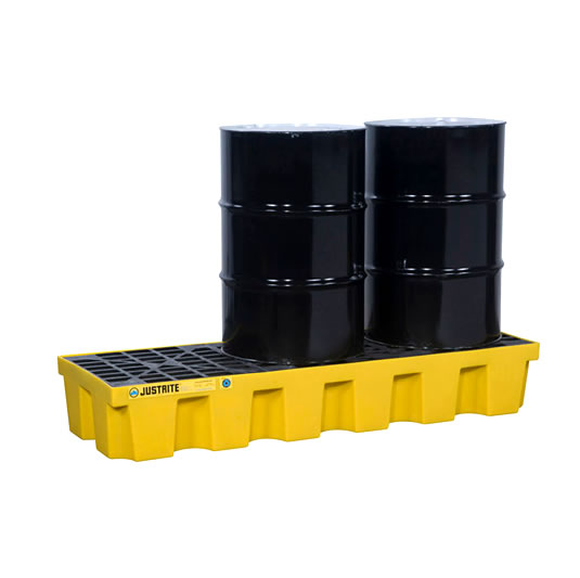 Pallet antiderrame 3t para 3 tambores Justrite 28628 (Ex 28713) con drenaje Amarillo